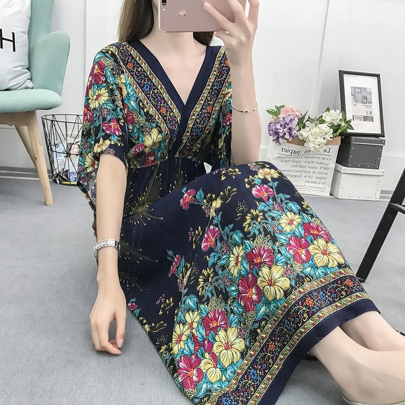 Fancy Bohemian Style Floral Print Maxi Skirt, Lady maxi skirt slim waist dress beach skirtWith Mixed Cotton 2