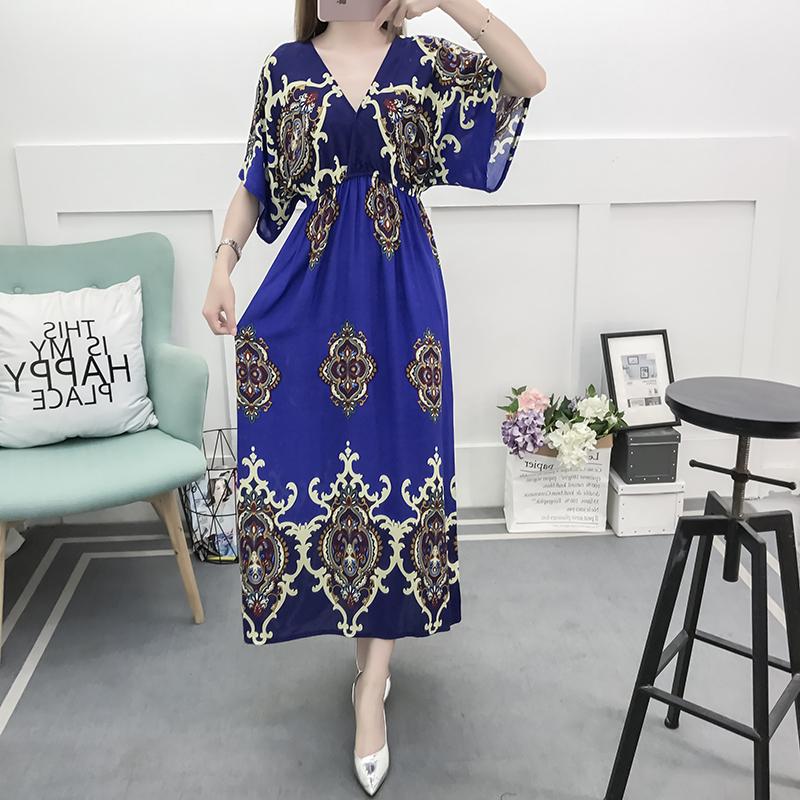 Fancy Bohemian Style Floral Print Maxi Skirt, Lady maxi skirt slim waist dress beach skirtWith Mixed Cotton 1