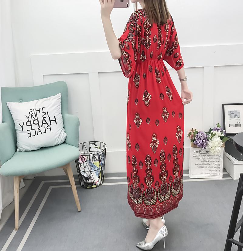 Fancy Bohemian Style Floral Print Maxi Skirt, Lady maxi skirt slim waist dress beach skirtWith Mixed Cotton 4