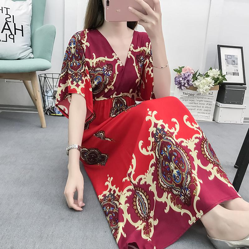 Fancy Bohemian Style Floral Print Maxi Skirt, Lady maxi skirt slim waist dress beach skirtWith Mixed Cotton 8