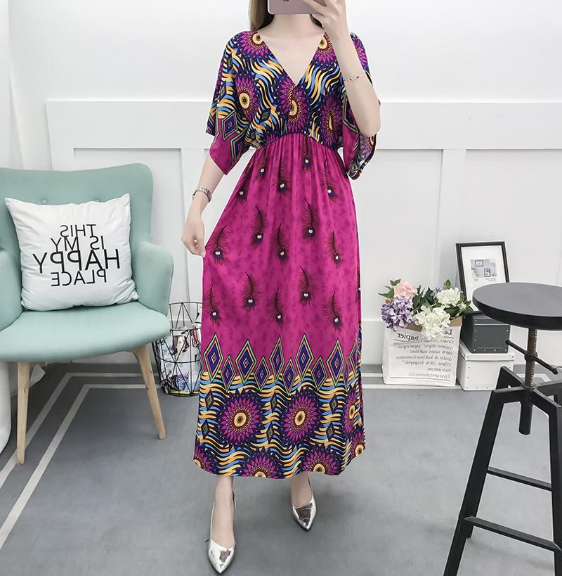 Fancy Bohemian Style Floral Print Maxi Skirt, Lady maxi skirt slim waist dress beach skirtWith Mixed Cotton 0