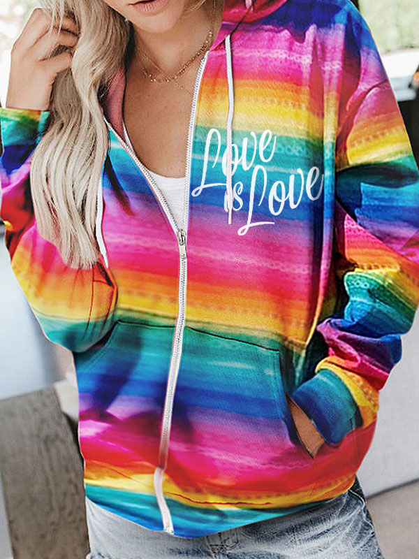Fashionable And Comfortable Rainbow-colored Printed Pocket Hoodies With Youthful Vitality Designed For Girls 0