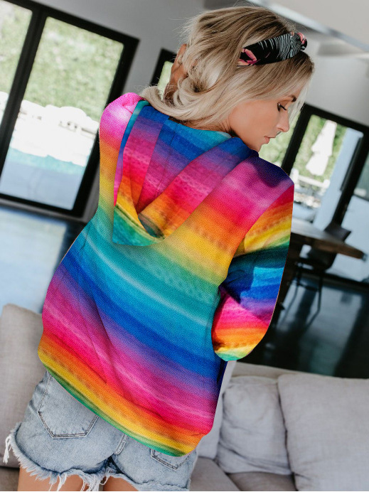 Fashionable And Comfortable Rainbow-colored Printed Pocket Hoodies With Youthful Vitality Designed For Girls 1