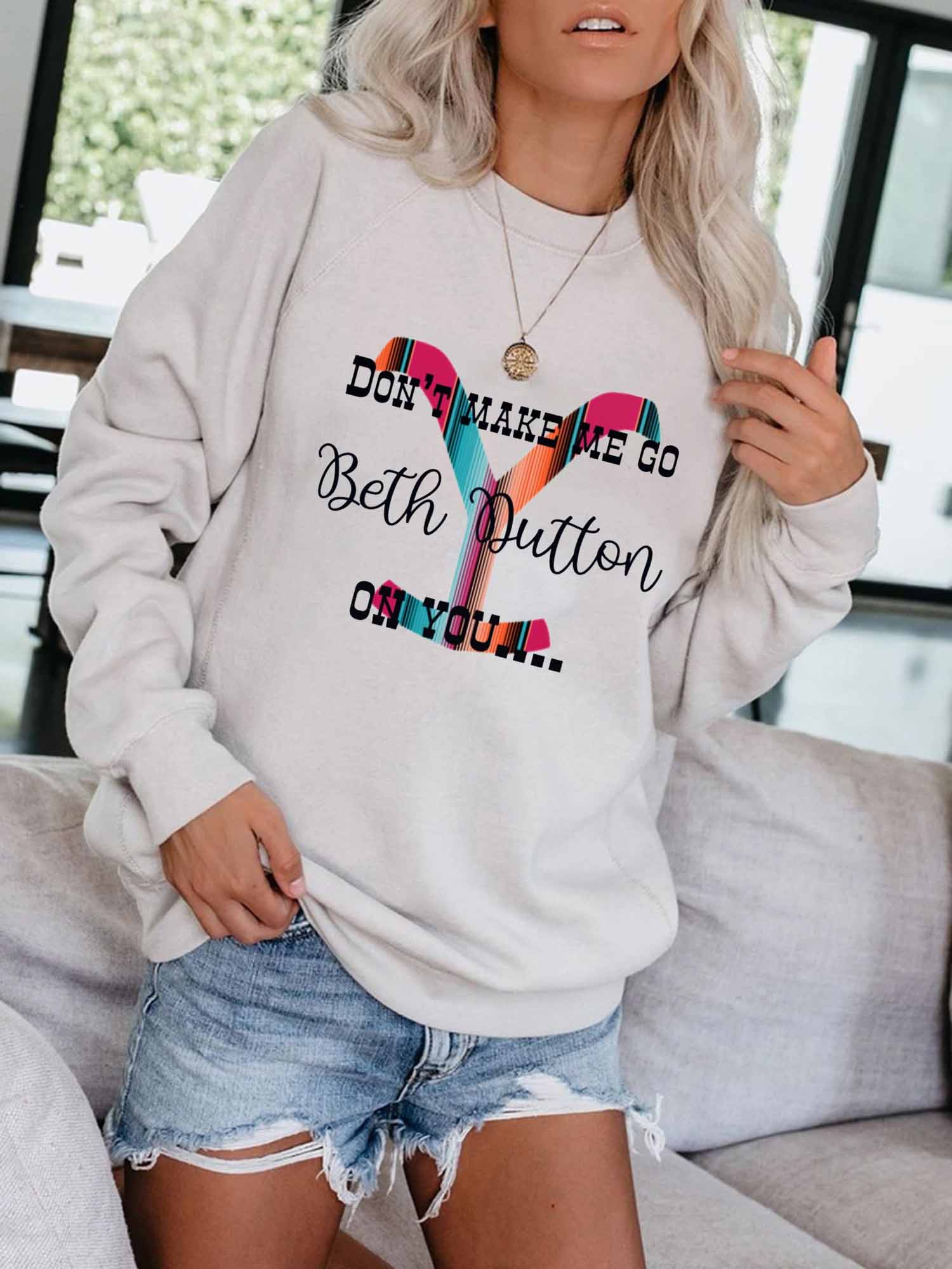 Instyle Letter Printing Design With Simple And Stylish Round Neck Sweater Suitable For Energetic Young Ladies And Girls 0