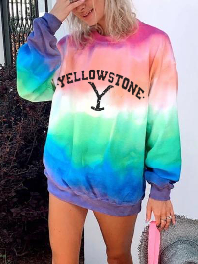 Women's Colorful Contrast Color Design With Thin Letter Printed Sweater Suitable For Young Fashionable Girls 0
