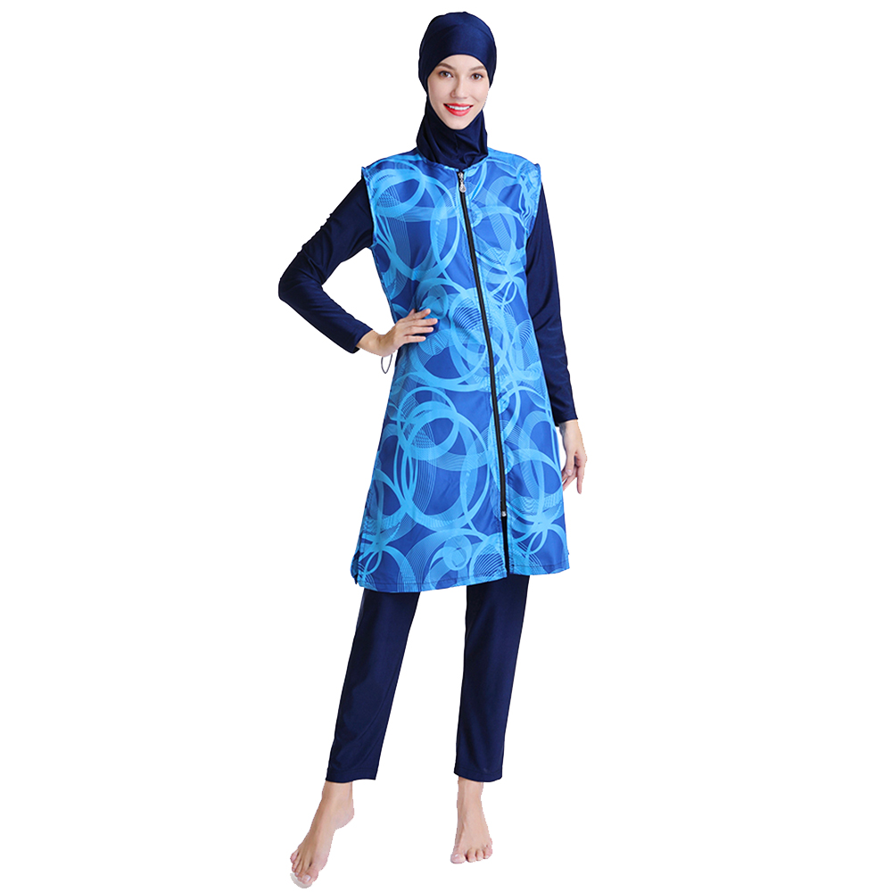 Muslim Long Swimsuit With Fashionable Rings Winding Design Suitable For Women And Ladies 2