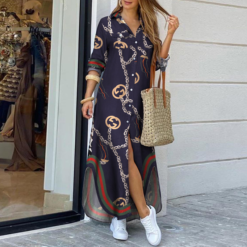 Bohemian Style Printed Long Skirt With Fashionable Beautifully Decorated Long-sleeved Lady's Long Skirt  4