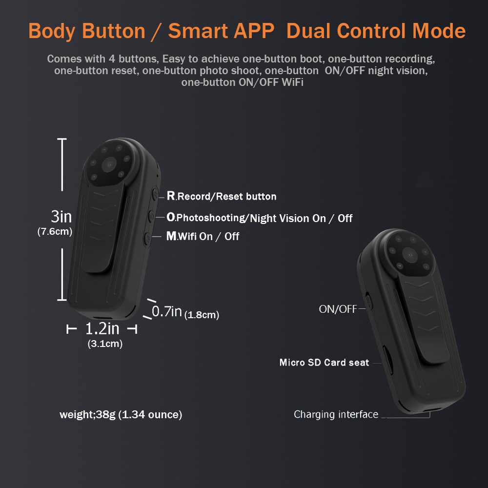 Mini WiFi Camera 1920X1080P Full HD Recording Meeting / Classroom / Security / Driving Recorder Smart Remote App Multipurpose Camera 1
