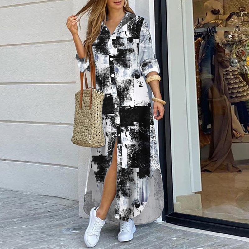 Bohemian Style Printed Long Skirt With Fashionable Beautifully Decorated Long-sleeved Lady's Long Skirt  5