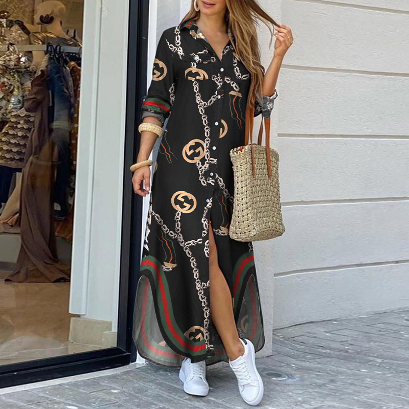 Bohemian Style Printed Long Skirt With Fashionable Beautifully Decorated Long-sleeved Lady's Long Skirt  6