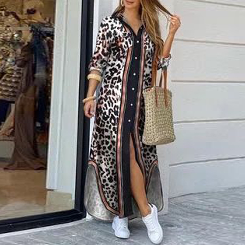 Bohemian Style Printed Long Skirt With Fashionable Beautifully Decorated Long-sleeved Lady's Long Skirt  2
