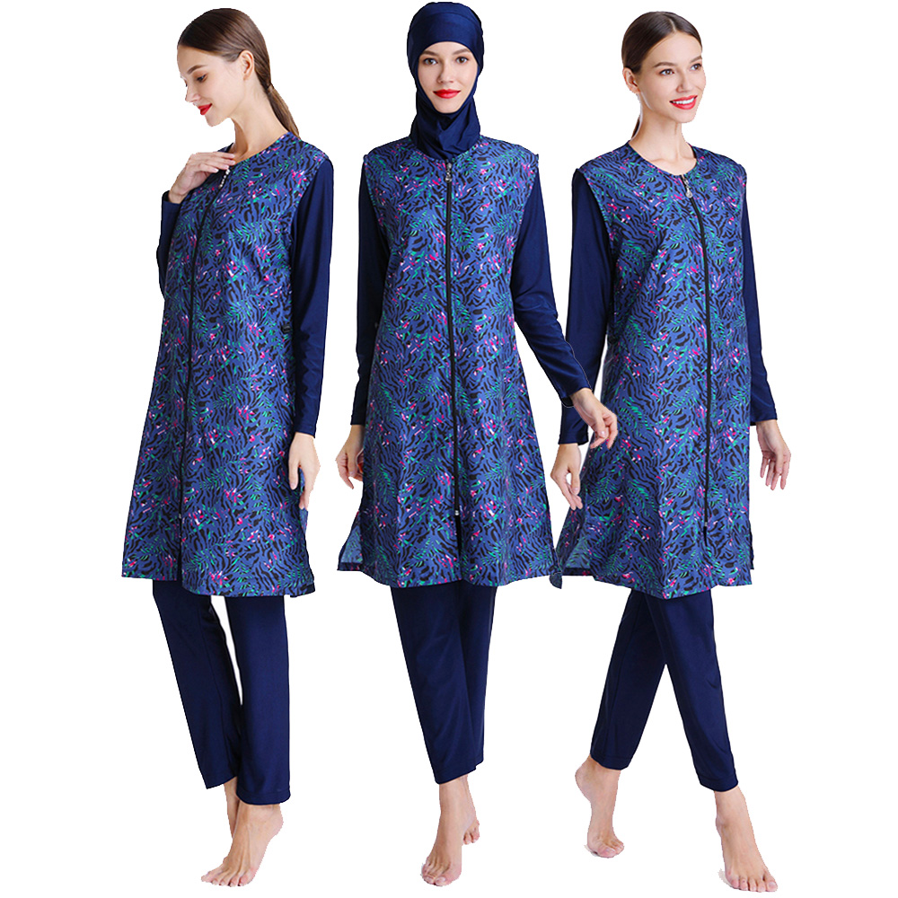 Muslim Swimsuit Long Vest With Unique Print Design Suitable For Women And Girls 0