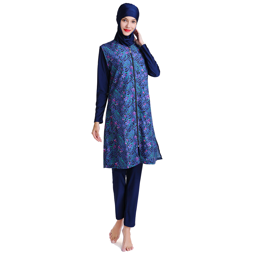 Muslim Swimsuit Long Vest With Unique Print Design Suitable For Women And Girls 1