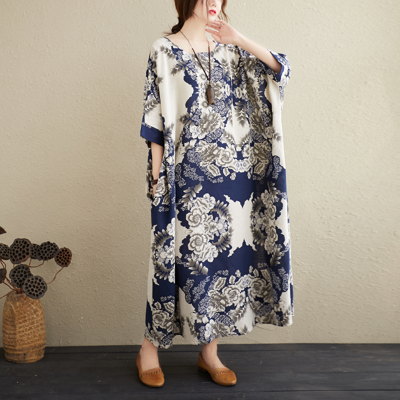 Ladies' Cotton And Linen Literary Oversize Dress Blue and White Porcelain Retro Simple Gown 1