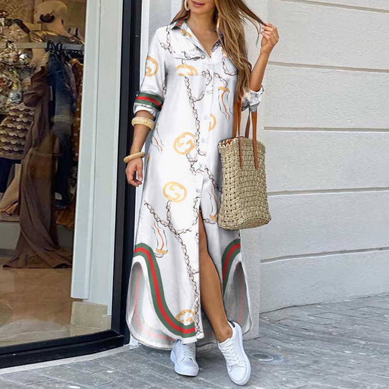 Bohemian Style Printed Long Skirt With Fashionable Beautifully Decorated Long-sleeved Lady's Long Skirt  11