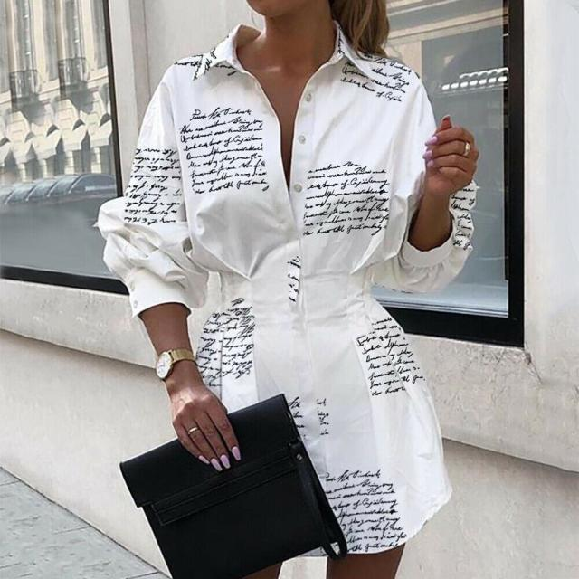 Women Tops And Blouses Office Lady Blouse Slim Shirts Women Blouses Plus Size Tops Casual Shirt Female Fashion Printed Waist Lantern Sleeve Shirt 3