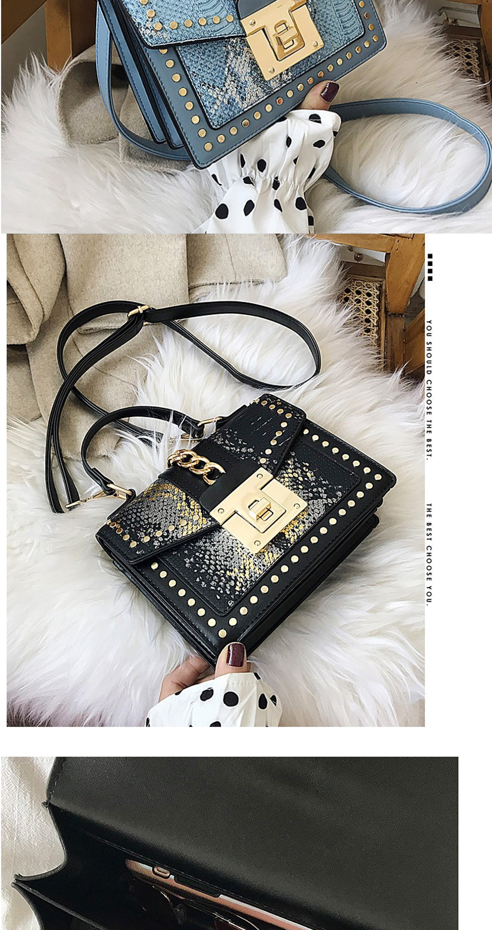 Fashion Snake Pattern Portable Small Female Bag 2020 New European And American Personality Atmospheric Messenger Shoulder Bag Wild Small Square Bag  3