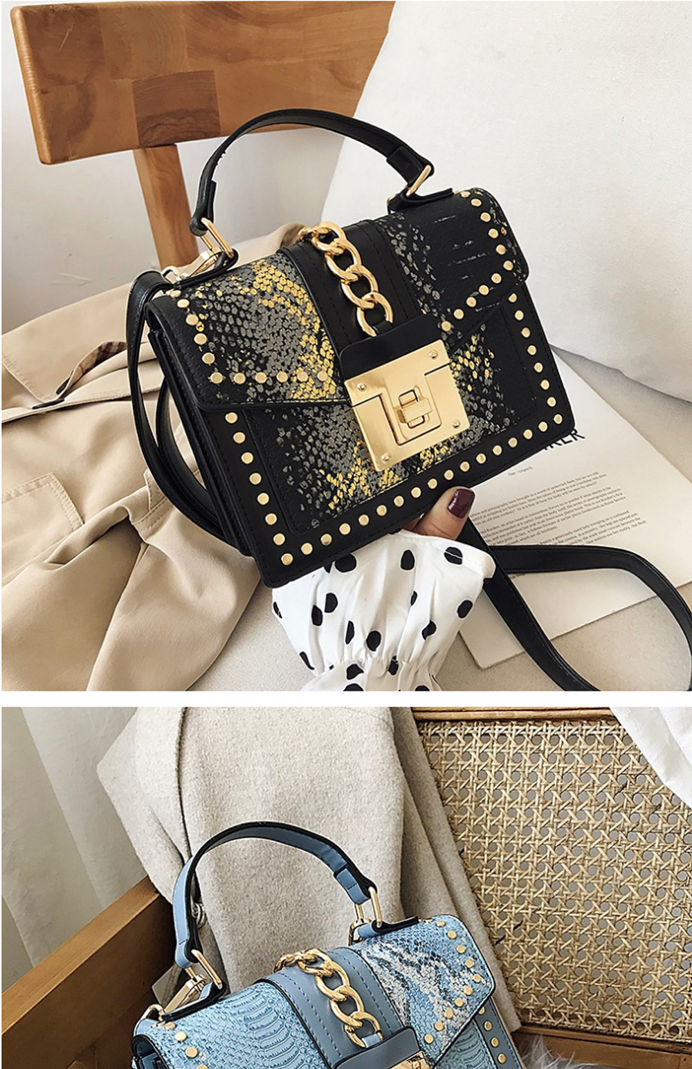 Fashion Snake Pattern Portable Small Female Bag 2020 New European And American Personality Atmospheric Messenger Shoulder Bag Wild Small Square Bag  2