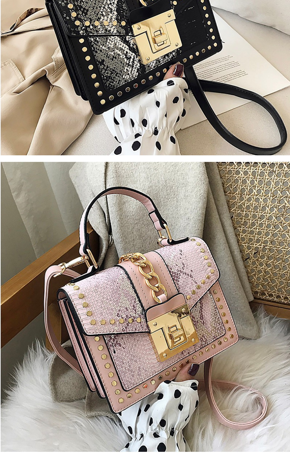 Fashion Snake Pattern Portable Small Female Bag 2020 New European And American Personality Atmospheric Messenger Shoulder Bag Wild Small Square Bag  1