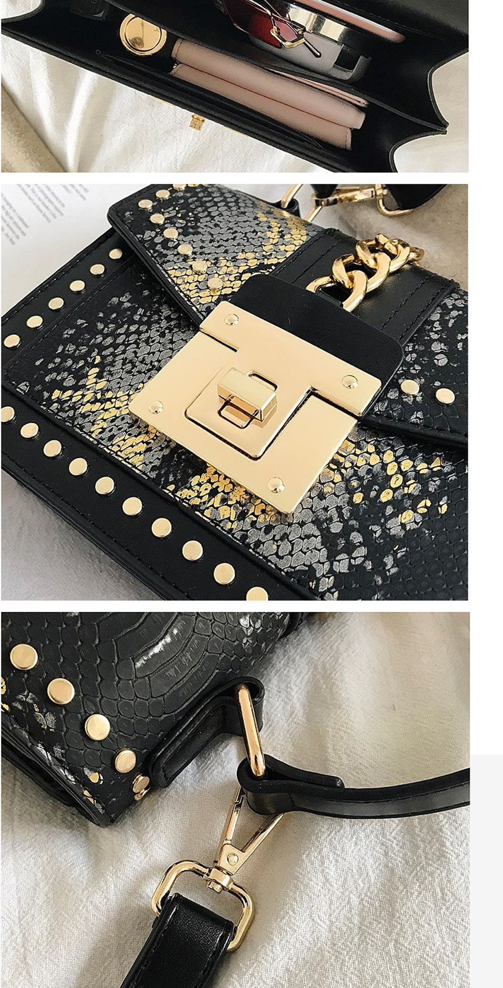 Fashion Snake Pattern Portable Small Female Bag 2020 New European And American Personality Atmospheric Messenger Shoulder Bag Wild Small Square Bag  4