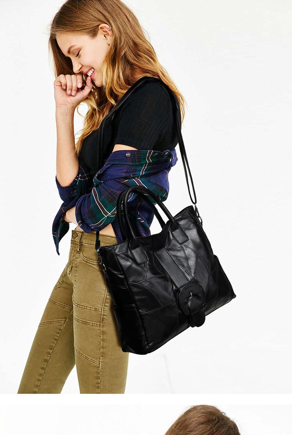 Genuine Leather Handbags Sheepskin Tote Bags, New Large-capacity Shoulder Handbags, Mommy bags Designed for women 33*10*31cm 0