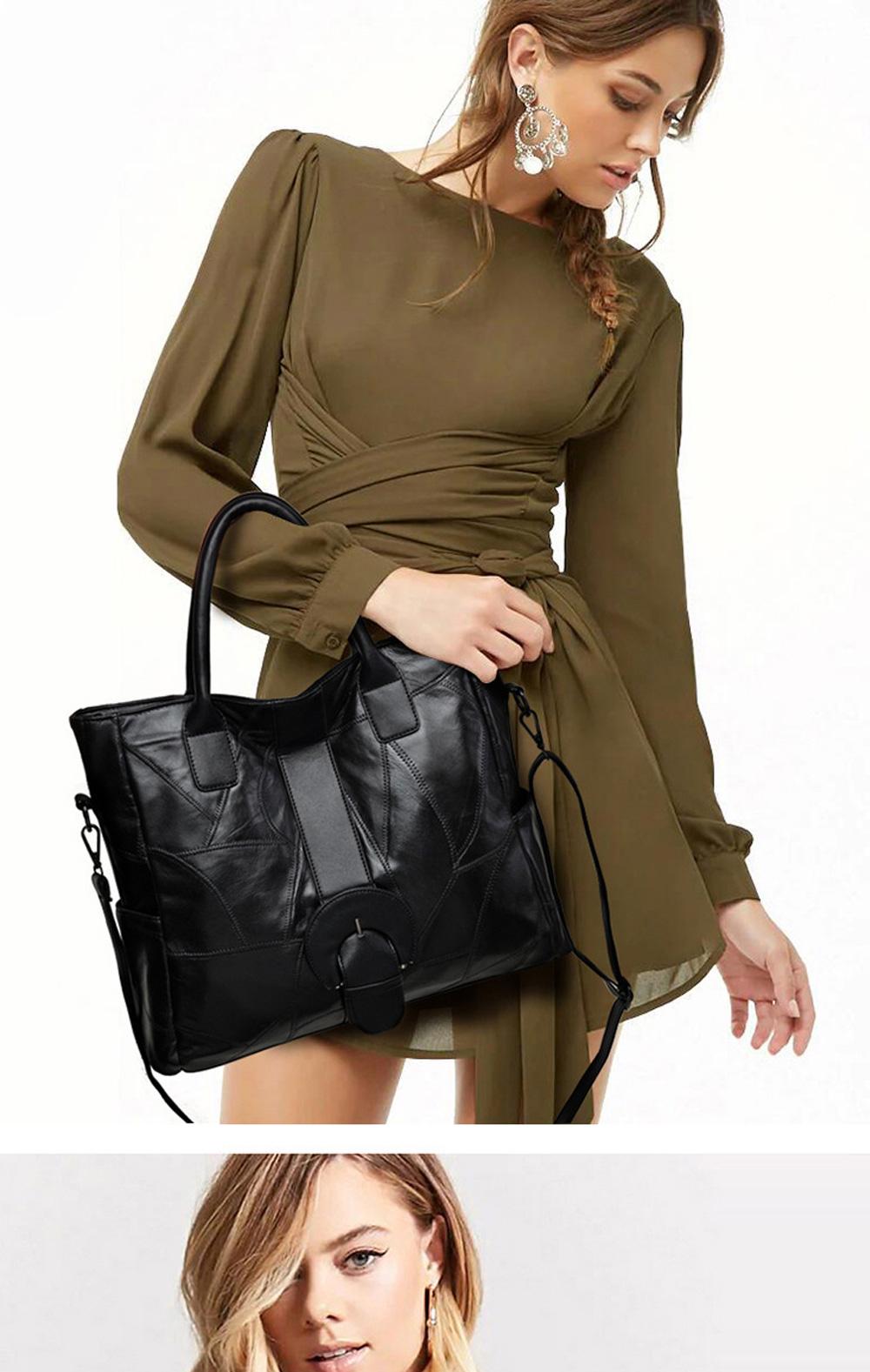 Genuine Leather Handbags Sheepskin Tote Bags, New Large-capacity Shoulder Handbags, Mommy bags Designed for women 33*10*31cm 1