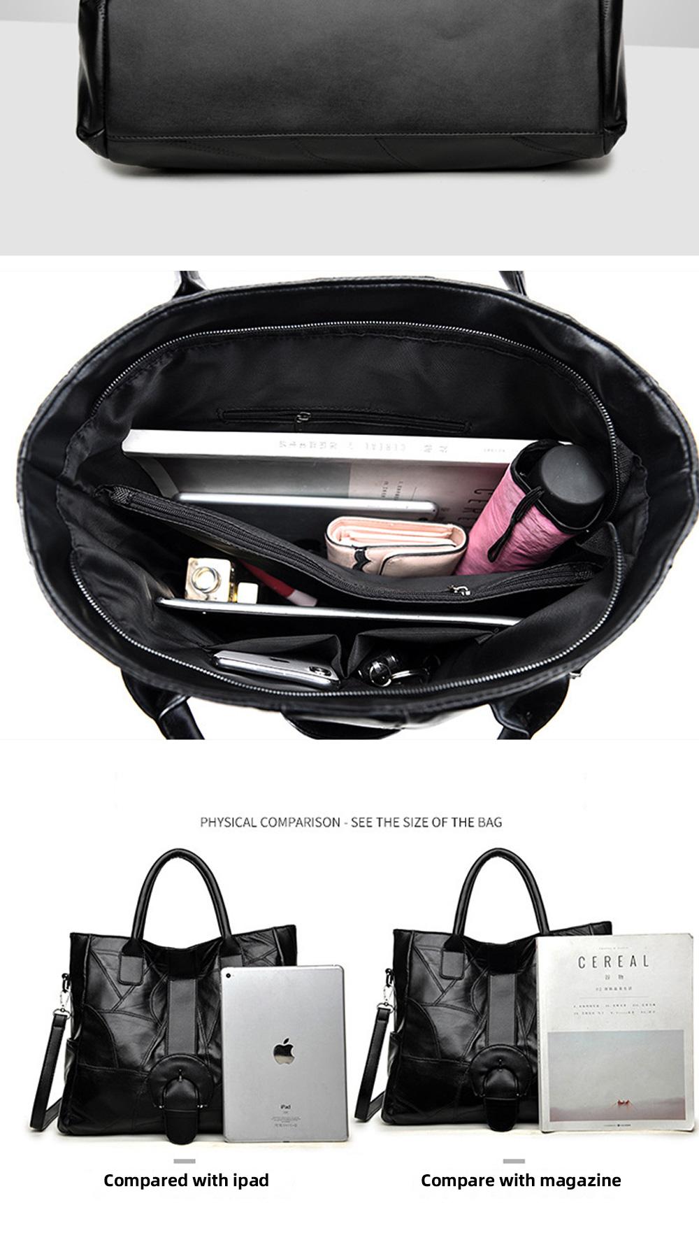 Genuine Leather Handbags Sheepskin Tote Bags, New Large-capacity Shoulder Handbags, Mommy bags Designed for women 33*10*31cm 7