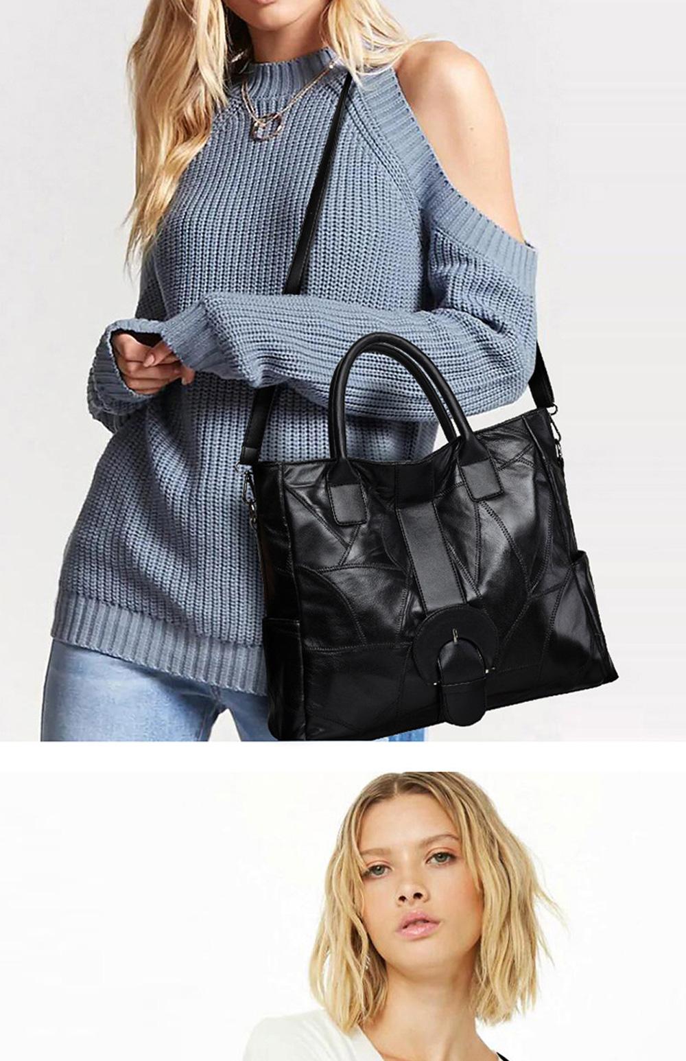 Genuine Leather Handbags Sheepskin Tote Bags, New Large-capacity Shoulder Handbags, Mommy bags Designed for women 33*10*31cm 2