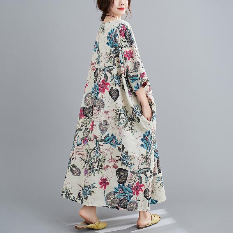 Free Size Cotton Linen Round Neck Dress Retro Long Skirt Women's Party Dress Fashion Casual Women's O-neck Sleeve Long Printed Dress 3