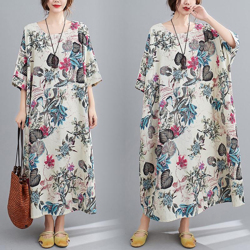 Free Size Cotton Linen Round Neck Dress Retro Long Skirt Women's Party Dress Fashion Casual Women's O-neck Sleeve Long Printed Dress 2