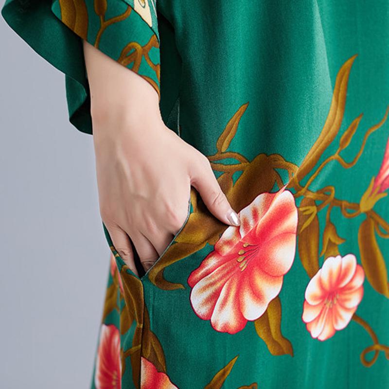 Ladies Long Skirt Literary Ethnic Style Simple V-neck Dress Summer Long Skirt 2020 Floral Bohemian Beach Skirt 4