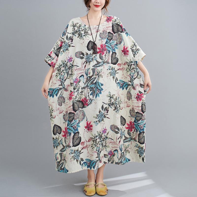 Free Size Cotton Linen Round Neck Dress Retro Long Skirt Women's Party Dress Fashion Casual Women's O-neck Sleeve Long Printed Dress 1
