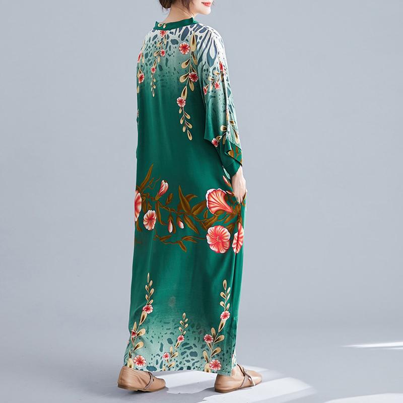 Ladies Long Skirt Literary Ethnic Style Simple V-neck Dress Summer Long Skirt 2020 Floral Bohemian Beach Skirt 3