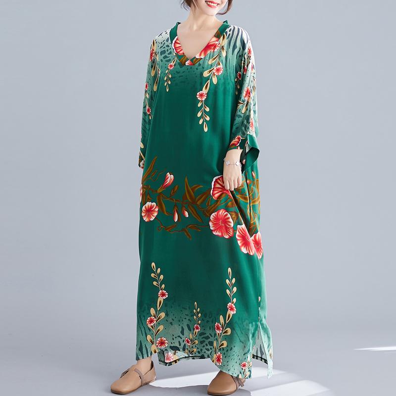 Ladies Long Skirt Literary Ethnic Style Simple V-neck Dress Summer Long Skirt 2020 Floral Bohemian Beach Skirt 2
