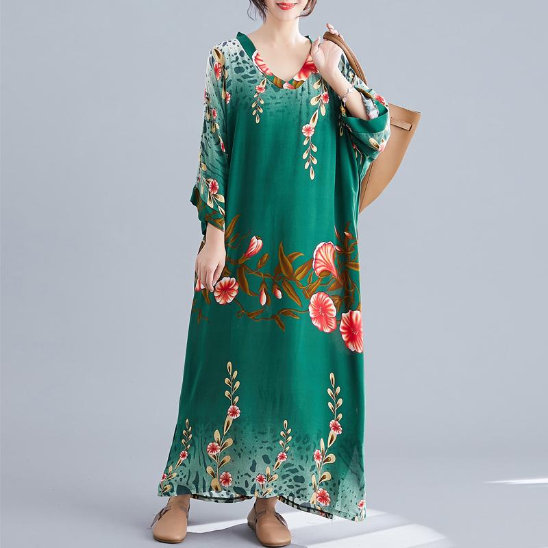 Ladies Long Skirt Literary Ethnic Style Simple V-neck Dress Summer Long Skirt 2020 Floral Bohemian Beach Skirt 1