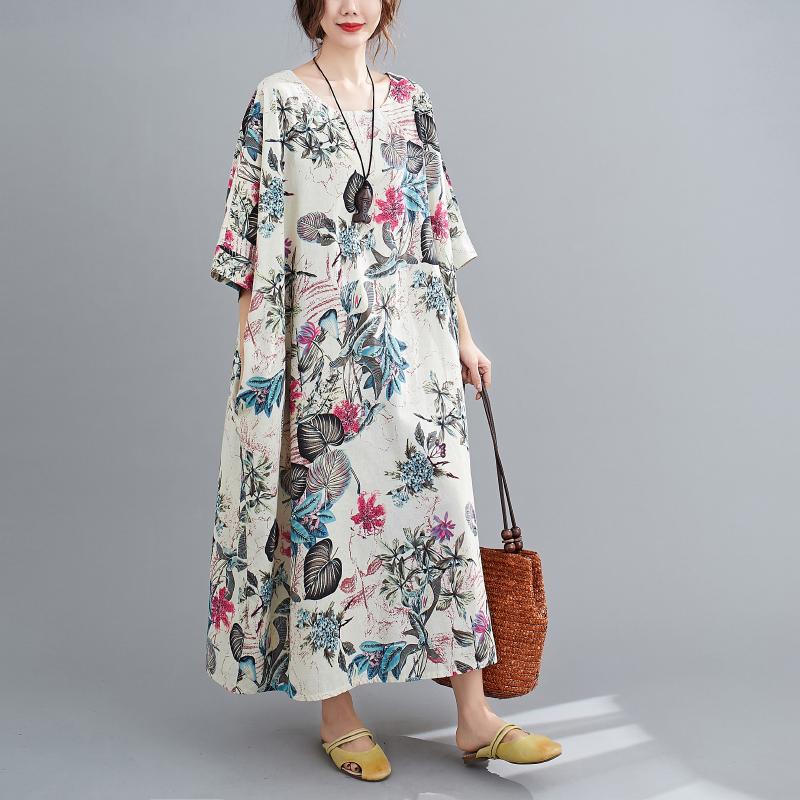 Free Size Cotton Linen Round Neck Dress Retro Long Skirt Women's Party Dress Fashion Casual Women's O-neck Sleeve Long Printed Dress 4