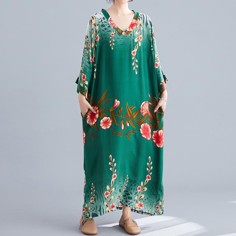 Ladies Long Skirt Literary Ethnic Style Simple V-neck Dress Summer Long Skirt 2020 Floral Bohemian Beach Skirt 0