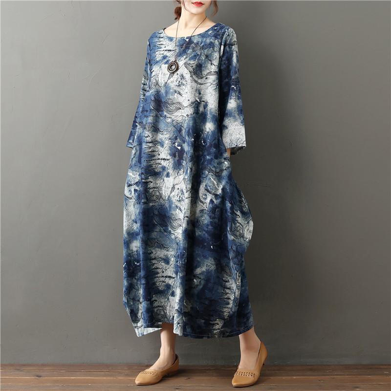 2020 Summer Free Size Ladies Loose Long Retro Shirt Dress Women's Tie-dye Lantern Skirt Literary Retro Cotton Linen Dress 3