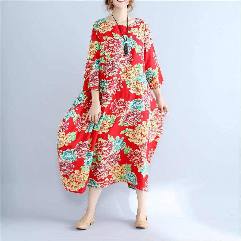 2020 Summer Free Size Ladies Loose Long Retro Shirt Dress Women's Tie-dye Lantern Skirt Literary Retro Cotton Linen Dress 0