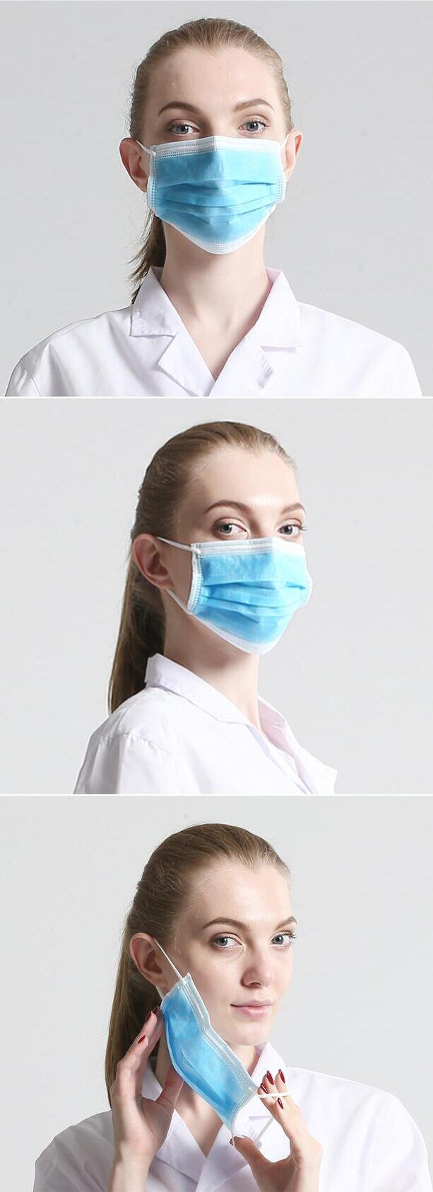 50Pcs POWECOM DM95 Disposable Face Masks 3-layer Non-woven Breathable Dust Masks Blue 2