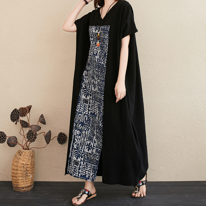 2020 New Cotton Temperament Color V-neck Long Skirt Thinner, Holiday Style Summer Floral Bohemian Dress For Women 8