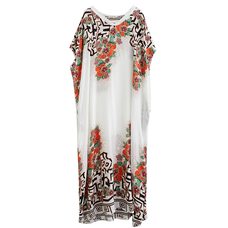 2020 New Cotton Temperament Color V-neck Long Skirt Thinner, Holiday Style Summer Floral Bohemian Dress For Women 1