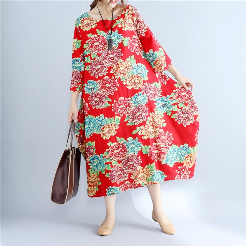 2020 Summer Free Size Ladies Loose Long Retro Shirt Dress Women's Tie-dye Lantern Skirt Literary Retro Cotton Linen Dress 1