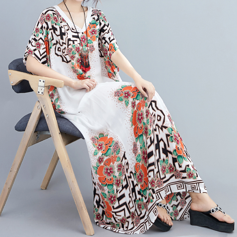 2020 New Cotton Temperament Color V-neck Long Skirt Thinner, Holiday Style Summer Floral Bohemian Dress For Women 2