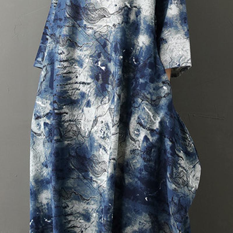2020 Summer Free Size Ladies Loose Long Retro Shirt Dress Women's Tie-dye Lantern Skirt Literary Retro Cotton Linen Dress 5