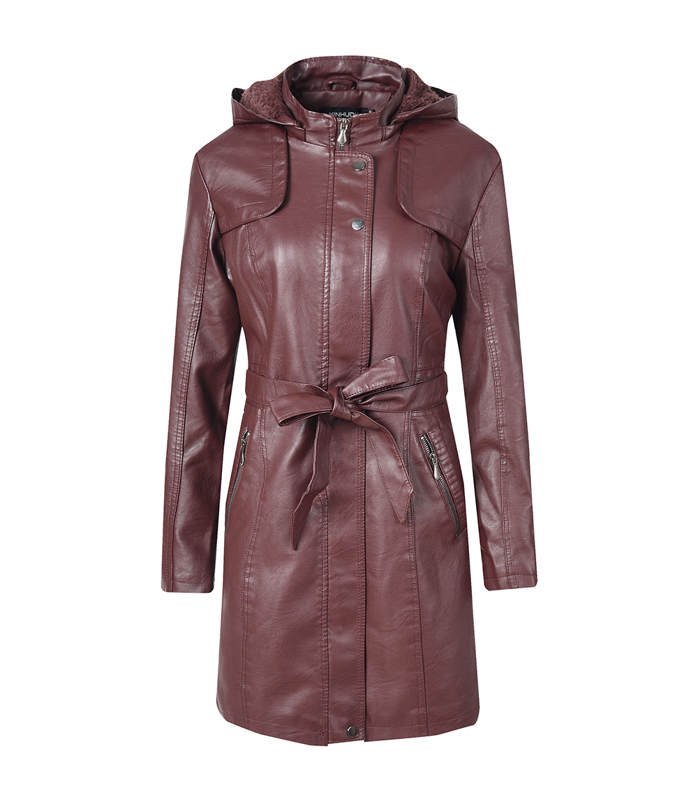Women's Leather Jacket Coat Female Casual Solid Lapel Zipper Long Sleeve long Coat Autumn And Winter Fashion Warm Items 8