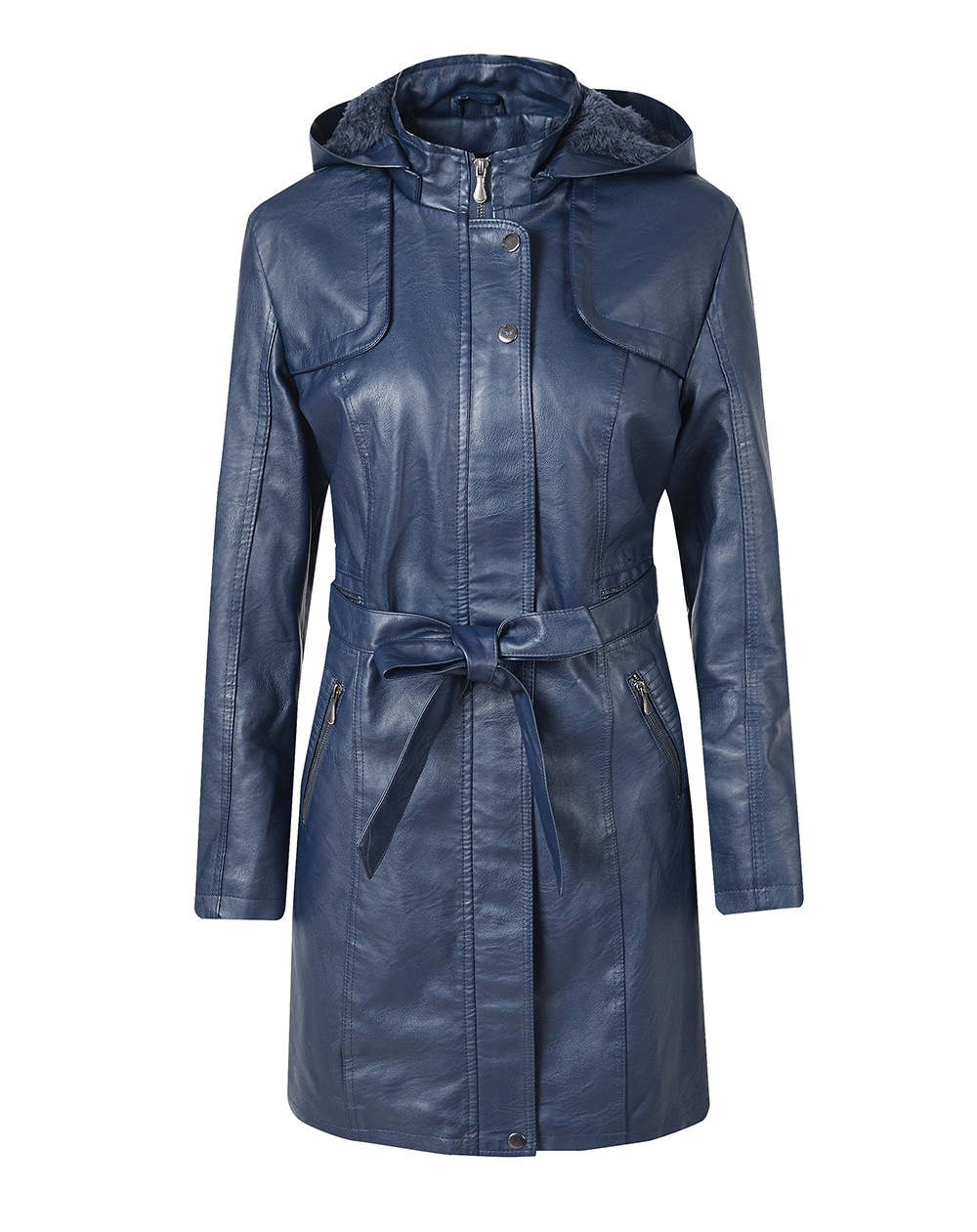 Women's Leather Jacket Coat Female Casual Solid Lapel Zipper Long Sleeve long Coat Autumn And Winter Fashion Warm Items 0