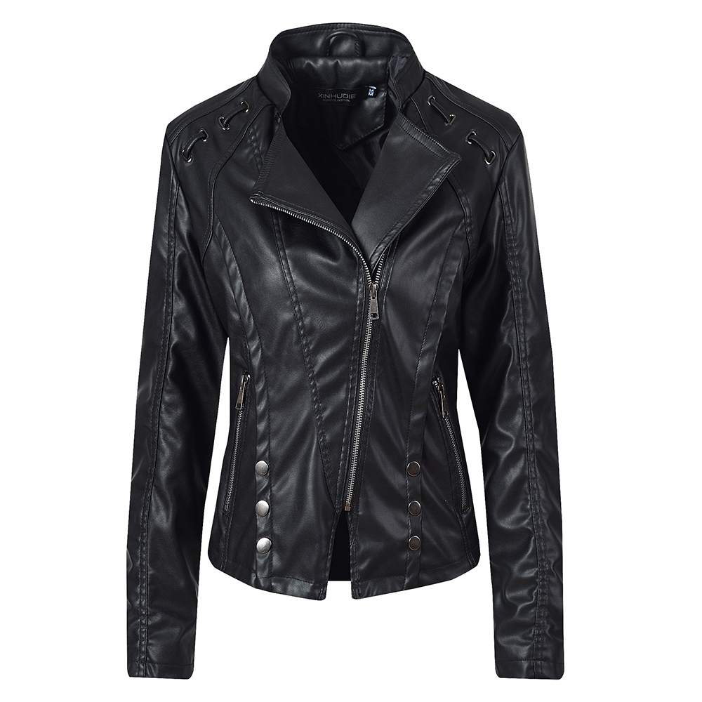 2020 New Fashion Faux Leather Jacket Ladies Autumn And Winter Black Motorcycle Jacket Designed For Women 7