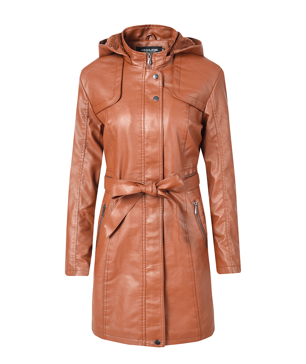 Women's Leather Jacket Coat Female Casual Solid Lapel Zipper Long Sleeve long Coat Autumn And Winter Fashion Warm Items 6