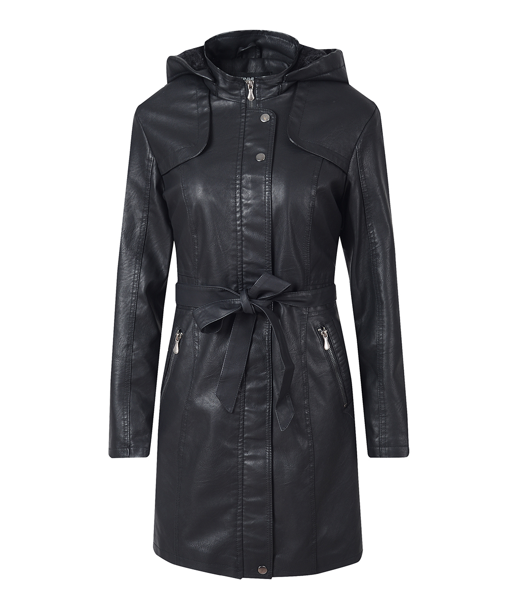 Women's Leather Jacket Coat Female Casual Solid Lapel Zipper Long Sleeve long Coat Autumn And Winter Fashion Warm Items 7